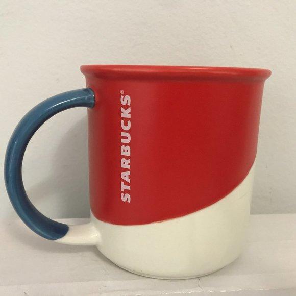 STARBUCKS Mug Colorblock Red Offwhite 2017 Holiday